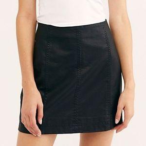 Free People Vegan Leather Skirt - Black